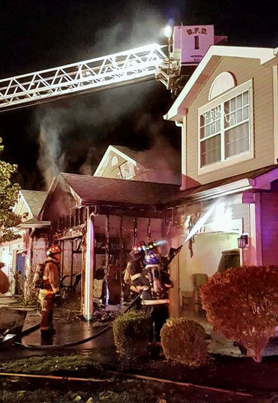 Crews responded to a garage fire in the 400 block of Mill Street in Batavia Friday night that damaged four townhouses. No one was injured.