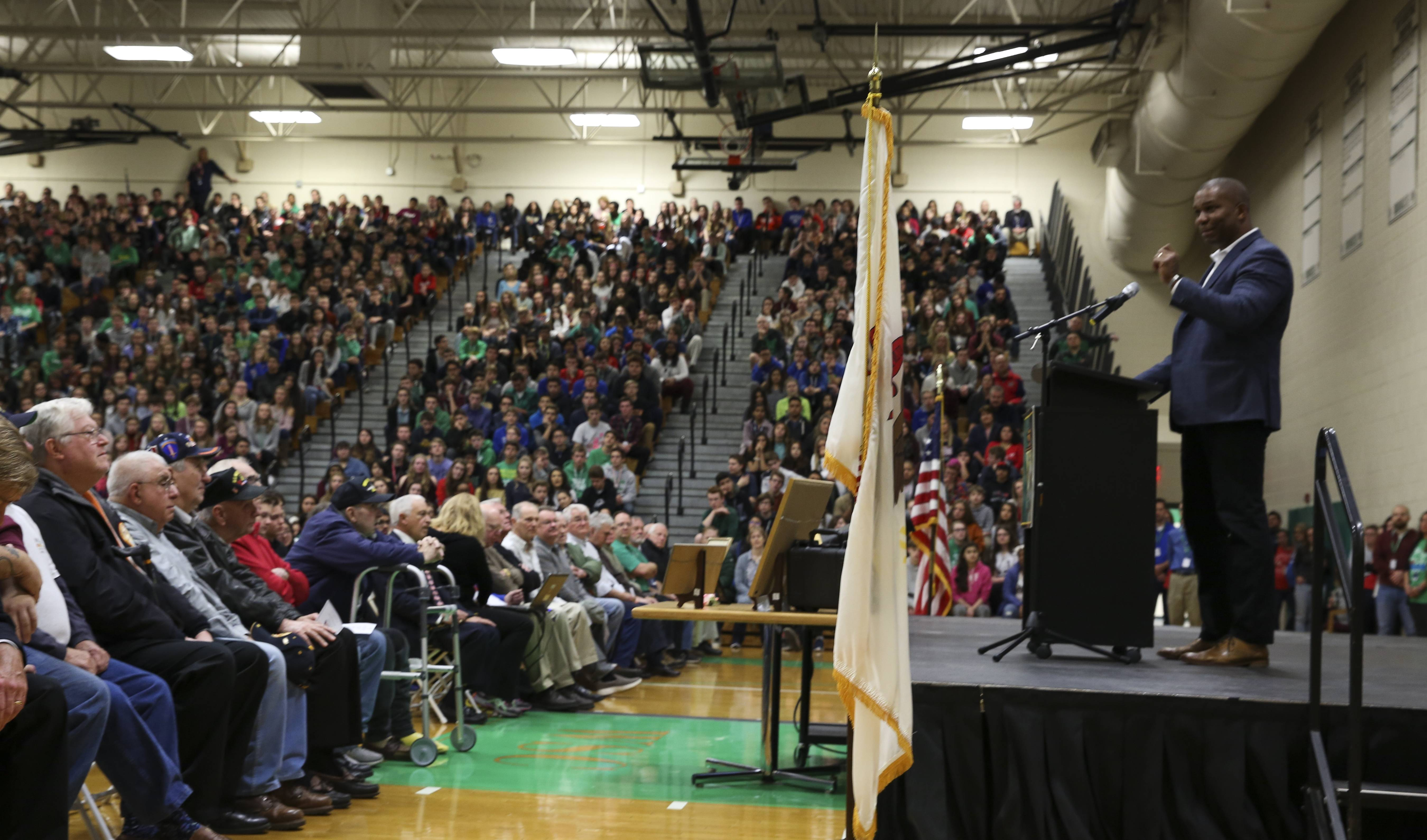 "AT DAILYHERALD.COM/MORE: Wes Becton, who served in the Army, was the keynote speaker Friday at a Veterans Day assembly at Elmhurst's York High School. Serving in the military, he said, ""requires giving of yourselves for others and considering other people's needs before you think of your own."""
