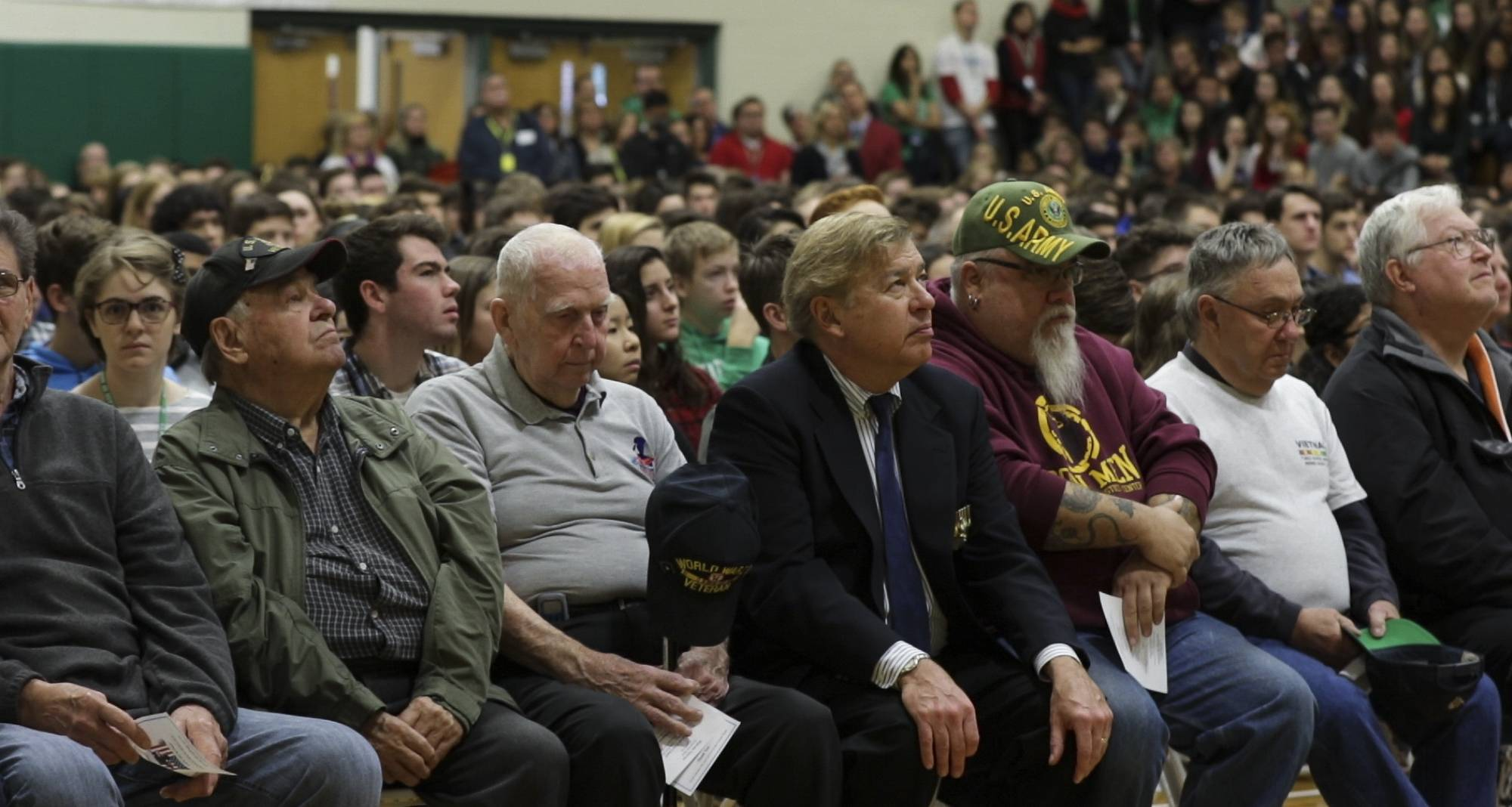 Veterans attend a ceremony in their honor at York High School.