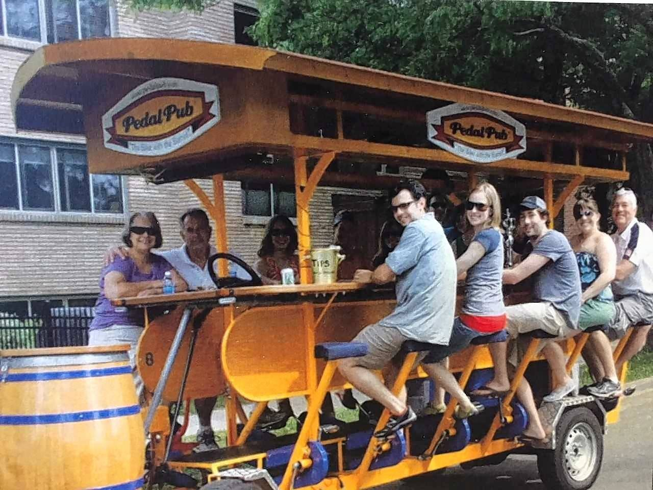 Naperville resident Monica Bennett, owner of O'Brien's Pedal Pub, plans to begin offering tours of downtown Naperville on a large multiperson bicycle on St. Patrick's Day 2018. She plans to launch the business without the ability for customers to bring their own drinks to consume while onboard the pub.
