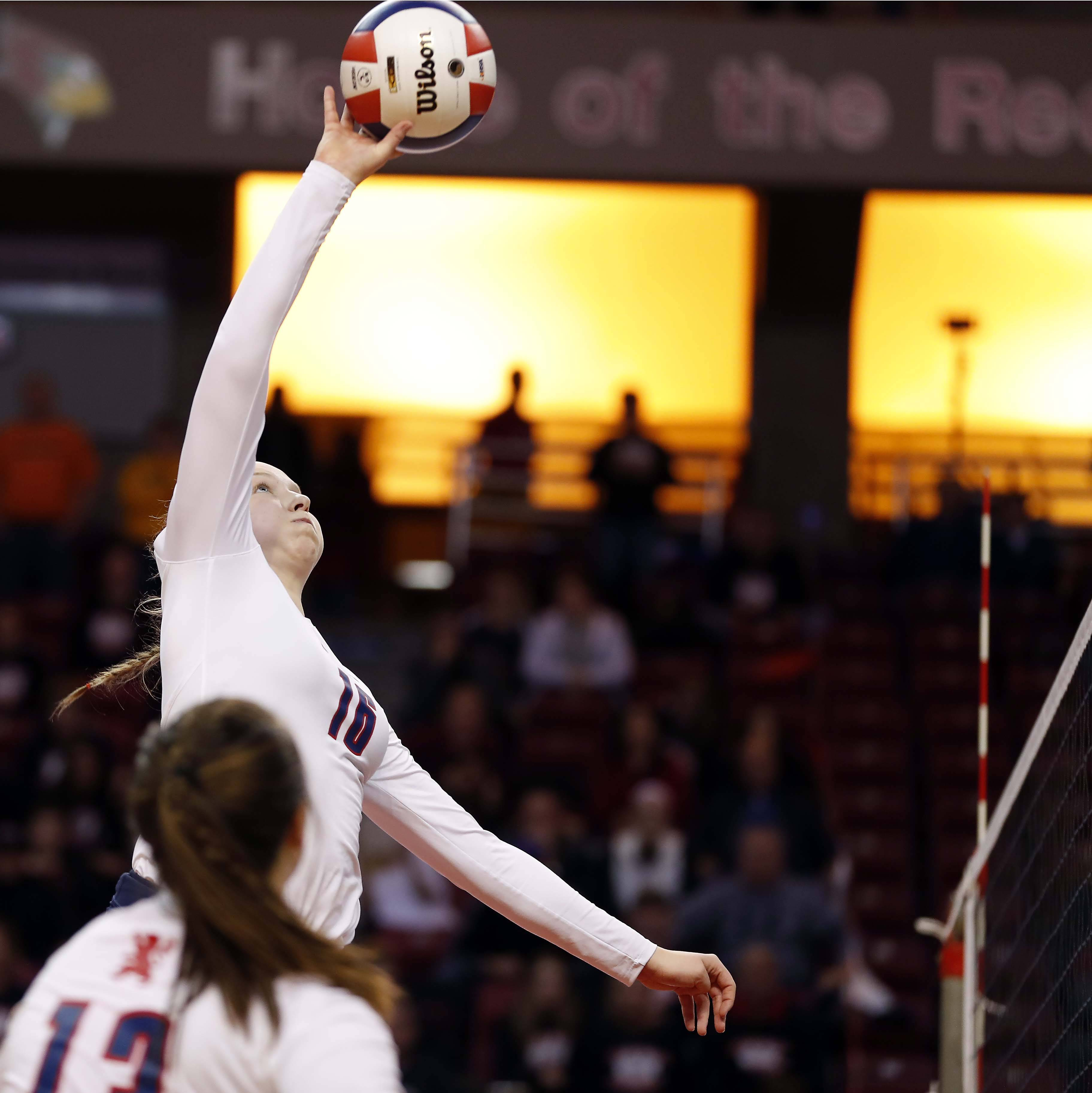 St. Viator's Kate Nottoli (16) in the semifinals of the IHSA Class 3A state girls volleyball tournament at Redbird Arena in Normal.