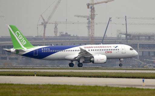 FILE - -In this Friday, May 5, 2017, file photo, a Chinese C919 passenger jet takes off on its first flight at Pudong International Airport in Shanghai. China's homegrown C919 passenger jet has touched down safely after its first long-haul test flight, bringing the nation one step closer to competing directly with aircraft giants in Europe and America.