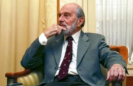 FILE -  In this file photo taken in Nov. 15, 2006, George Blake, a former British spy and double agent in service of the Soviet Union, seen in Moscow, Russia. Blake, who turns 95 Saturday Nov. 11, 2017 said in a statement carried by the Russian Foreign Intelligence Service that Russian spies now face a task of saving the world. Blake has lived in Russia since his escape from British prison in 1966.