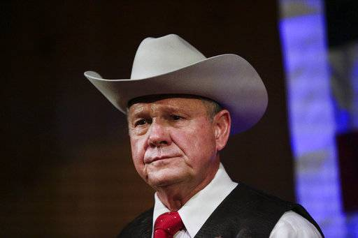 FILE - In this Monday, Sept. 25, 2017, file photo, former Alabama Chief Justice and U.S. Senate candidate Roy Moore speaks at a rally, in Fairhope, Ala. According to a Washington Post story Nov. 9, an Alabama woman said Moore made inappropriate advances and had sexual contact with her when she was 14.