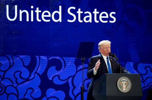 U.S. President Donald Trump speaks at the Asia-Pacific Economic Cooperation (APEC) CEO Summit at the Aryana Convention Center, Friday, Nov. 10, 2017, in Danang, Vietnam. Trump is on a five country trip through Asia traveling to Japan, South Korea, China, Vietnam and the Philippines.