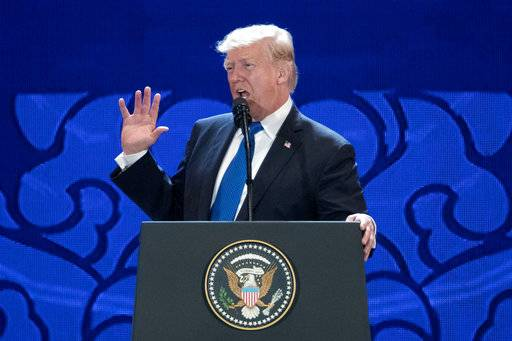 U.S. President Donald Trump speaks at the Asia-Pacific Economic Cooperation (APEC) CEO Summit at the Aryana Convention Center in Danang, Vietnam, Friday, Nov. 10, 2017.