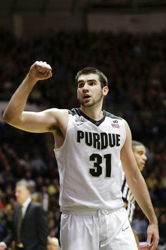 Purdue guard Dakota Mathias reacts to a teammate's basket against SIU-Edwardsville in the second half of an NCAA college basketball game in West Lafayette, Ind., Friday, Nov. 10, 2017. (AP Photo/AJ Mast)