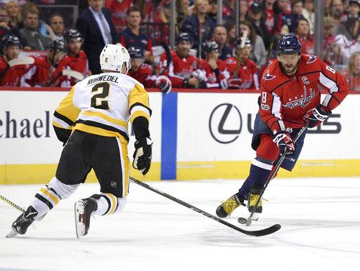 Washington Capitals left wing Alex Ovechkin (8), of Russia, skates with the puck against Pittsburgh Penguins defenseman Chad Ruhwedel (2) during the first period of an NHL hockey game, Friday, Nov. 10, 2017, in Washington.