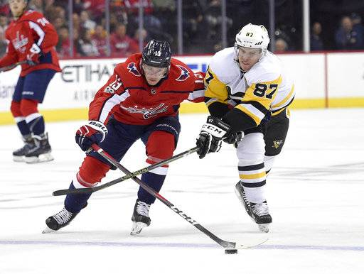Pittsburgh Penguins center Sidney Crosby (87) battles for the puck against Washington Capitals left wing Jakub Vrana (13), of the Czech Republic, during the first period of an NHL hockey game, Friday, Nov. 10, 2017, in Washington.