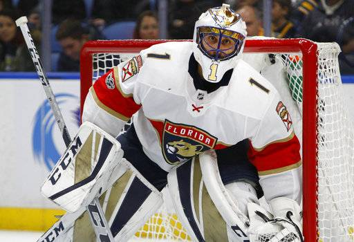 Florida Panthers goalie Roberto Luongo (1) looks on during the first period of an NHL hockey game against the Buffalo Sabres, Friday Nov. 10, 2017, in Buffalo, N.Y.