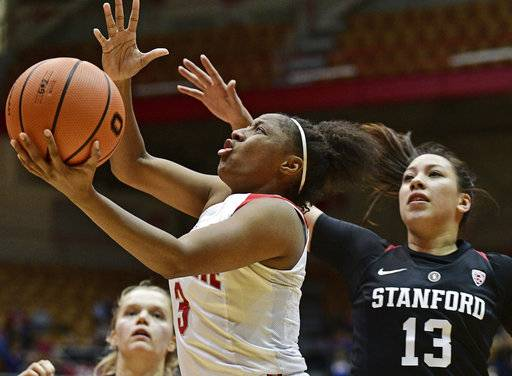 Ohio State's Kelsey Mitchell, front left, drives to the basket on Stanford's Marta Sniezek, right, during the fourth quarter of an NCAA college basketball game, Friday, Nov. 10, 2017, in Columbus, Ohio.(AP Photo/David Dermer)