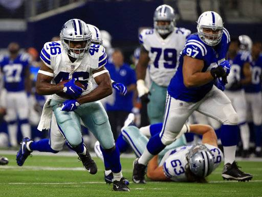 FILE - In this Aug. 19, 2017, file photo, Dallas Cowboys running back Alfred Morris (46) runs the ball against the Indianapolis Colts during the first half of a preseason NFL football game in Arlington, Texas. The Cowboys' enviable running back depth will be tested, as will their three-game winning streak, when they are expected to face the Atlanta Falcons on Sunday without Ezekiel Elliott. (AP Photo/Ron Jenkins, File)