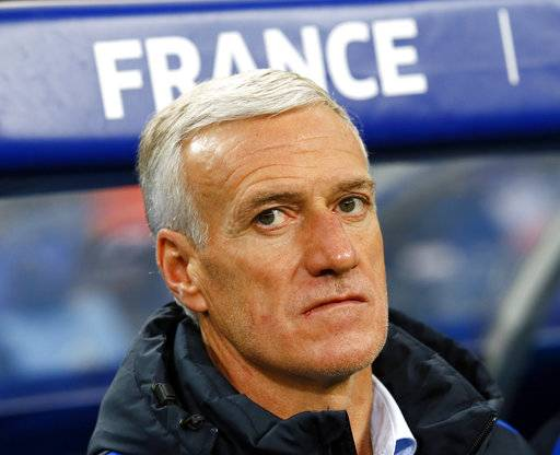 France's head coach Didier Deschamps looks on prior to an international friendly soccer match between France and Wales at Stade de France in Saint Denis, a northern suburb of Paris, France, Friday, Nov. 10, 2017.