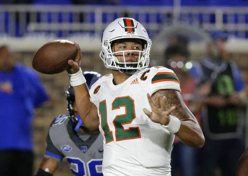 FILE - In this Sept. 29, 2017, file photo, Miami quarterback Malik Rosier (12) looks to pass against Duke during the first half of an NCAA college football game in Durham, N.C. Dual-threat quarterbacks will take center stage when No. 3 Notre Dame visits No. 7 Miami on Saturday night.