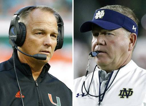FILE - At left, in a Sept. 23, 2017, file photo, Miami head coach Mark Richt reacts to a call during the second half of an NCAA College football game against Toledo, in Miami Gardens, Fla. At right, in an Oct. 21, 2017, file photo, Notre Dame head coach Brian Kelly watches warmups before the first half of an NCAA football game against Southern California, in South Bend, Ind. Notre Dame visits unbeaten and No. 7 Miami on Saturday.