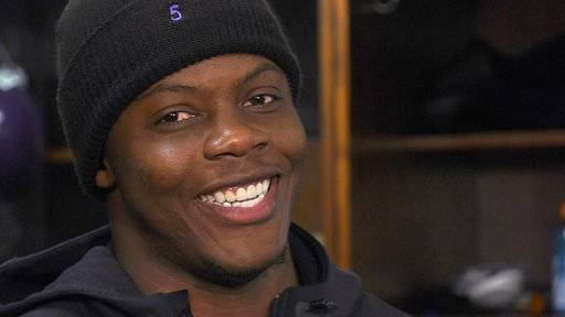 Minnesota Vikings quarterback Teddy Bridgewater smiles as he speaks with reporters at the NFL football team's training facility in Eden Prairie, Minn., Thursday, Nov. 9, 2017. An unquestionable lift for the Vikings came this week with Bridgewater activated. He'll serve as backup to Case Keenum, but his return from a devastating knee injury in training camp 2016 is a huge plus. (Shari L. Gross/Star Tribune via AP)