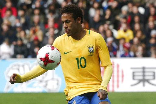 Brazil's Neymar controls the ball during their international friendly soccer match Brazil against Japan at the Pierre Mauroy stadium in Lille, northern France, Friday, Nov. 10, 2017.