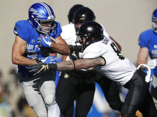 Air Force running back Timothy McVey, left, is tackled after a short gain by Army defensive back Rhyan England in the first half of an NCAA college football game Saturday, Nov. 4, 2017, at Air Force Academy, Colo.
