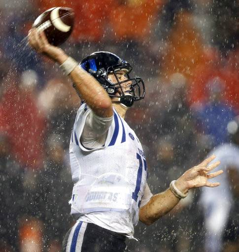 Duke quarterback Daniel Jones (17) makes a pass during the second half of an NCAA college football game in Blacksburg, Va., Saturday, Oct. 28, 2017. Virginia Tech won the game 24-3.