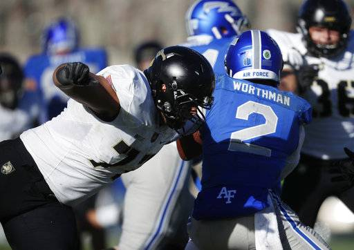Army defensive lineman Raymond Wright, left, tackles Air Force quarterback Arion Worthman in the second half of an NCAA college football game Saturday, Nov. 4, 2017, at Air Force Academy, Colo.