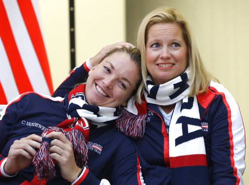 United States team player CoCo Vandeweghe, left, and team captain Kathy Rinaldi seen after the drawing ceremony, in Minsk, Friday, Nov. 10, 2017. The Fed Cup final matches between Belarus and USA will take place Nov. 11 - 12, 2017.