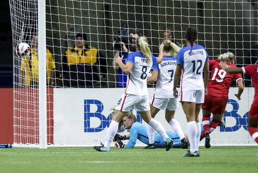 Canada's Adriana Leon (19) scores against U.S. goalkeeper Alyssa Naeher, on ground, as Julie Ertz (8), Abby Dahlkemper (7) and Lynn Williams (12) watch during the second half of an international friendly soccer match, Thursday, Nov. 9, 2017, in Vancouver, British Columbia. (Darryl Dyck/The Canadian Press via AP)
