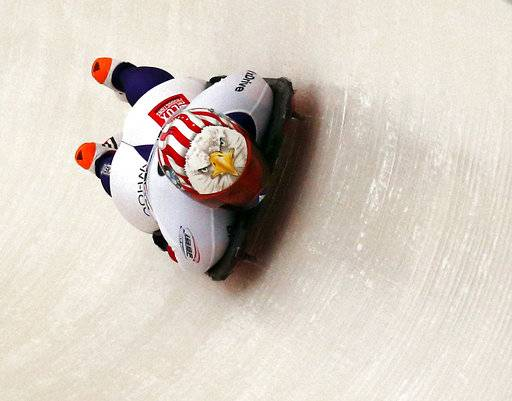 Katie Uhlaender, of the United States, rounds a curve during the women's World Cup skeleton race in Lake Placid, N.Y., on Thursday, Nov. 9, 2017. Uhlaender finished ninth in the event.
