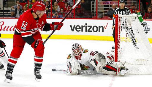 Carolina Hurricanes' Jeff Skinner (53) has his shot snared by Chicago Blackhawks goalie Anton Forsberg (31) during the second period of an NHL hockey game, Saturday, Nov. 11, 2017, in Raleigh, N.C.