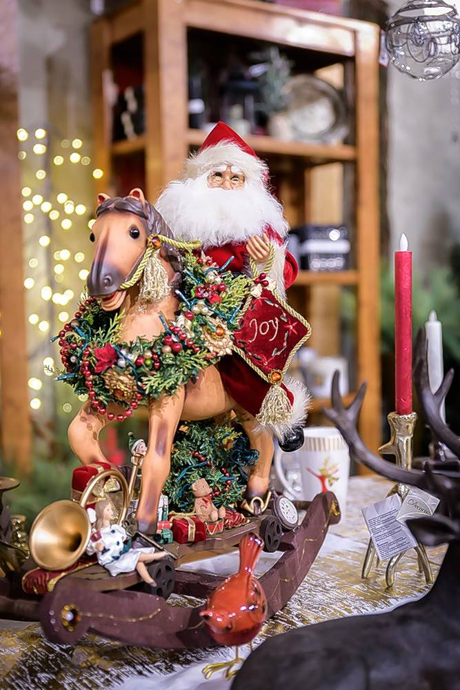A lighted Santa on a rocking horse is sure to become a favorite decoration.