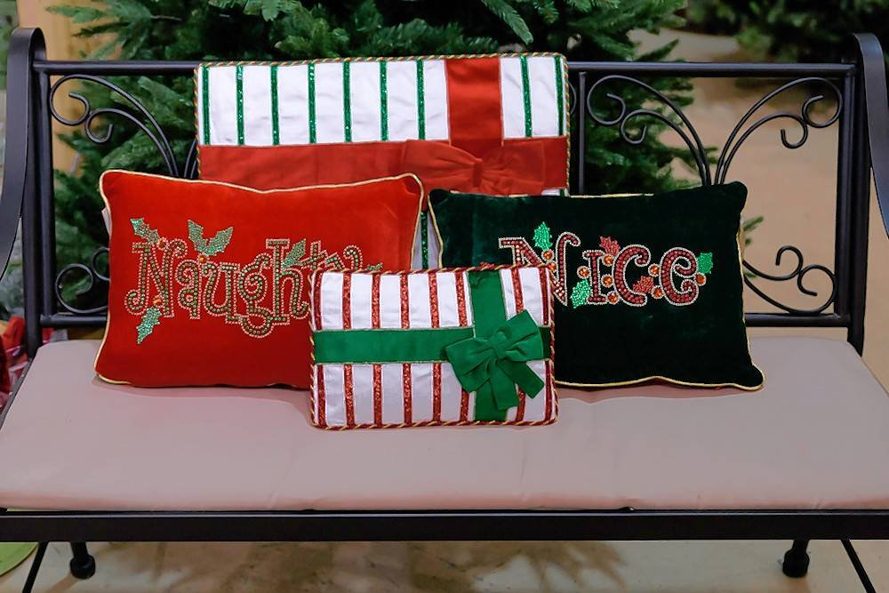 Naughty and Nice pillows are fun and sure to start a few family conversations.