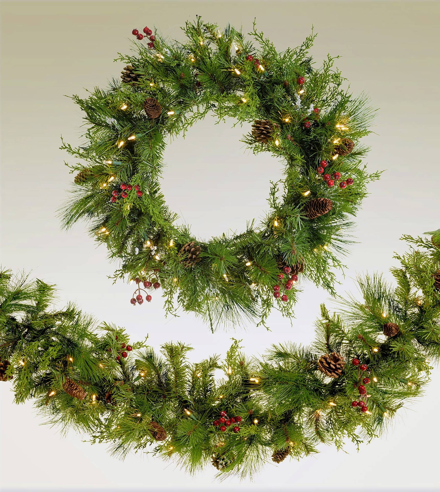 Matching wreath and garland.