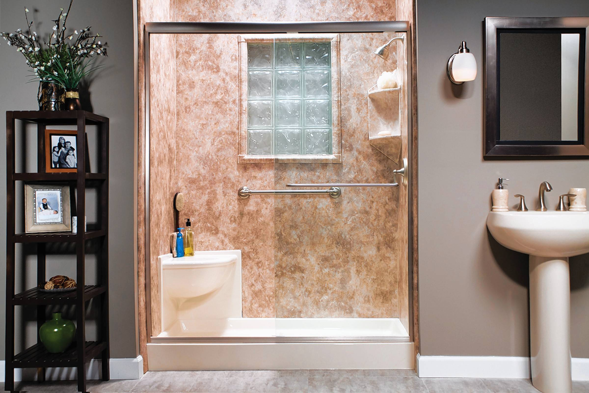 Many homeowners are replacing their tubs with walk-in shower units.