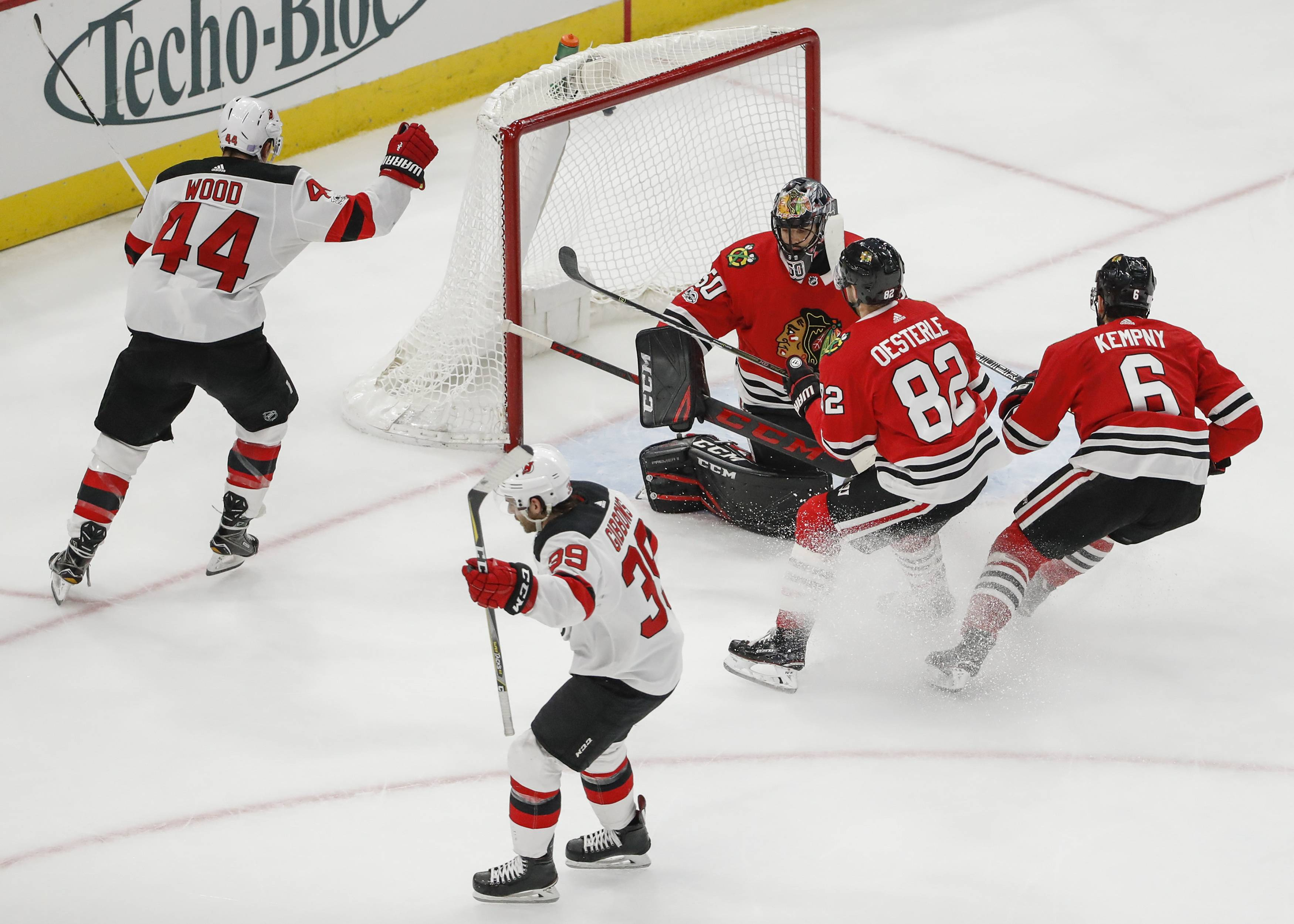 Chicago Blackhawks goalie Corey Crawford allowed 5 goals in less than 20 minutes in Sunday's loss to New Jersey. Crawford's season save percentage dropped from .942 to .932.
