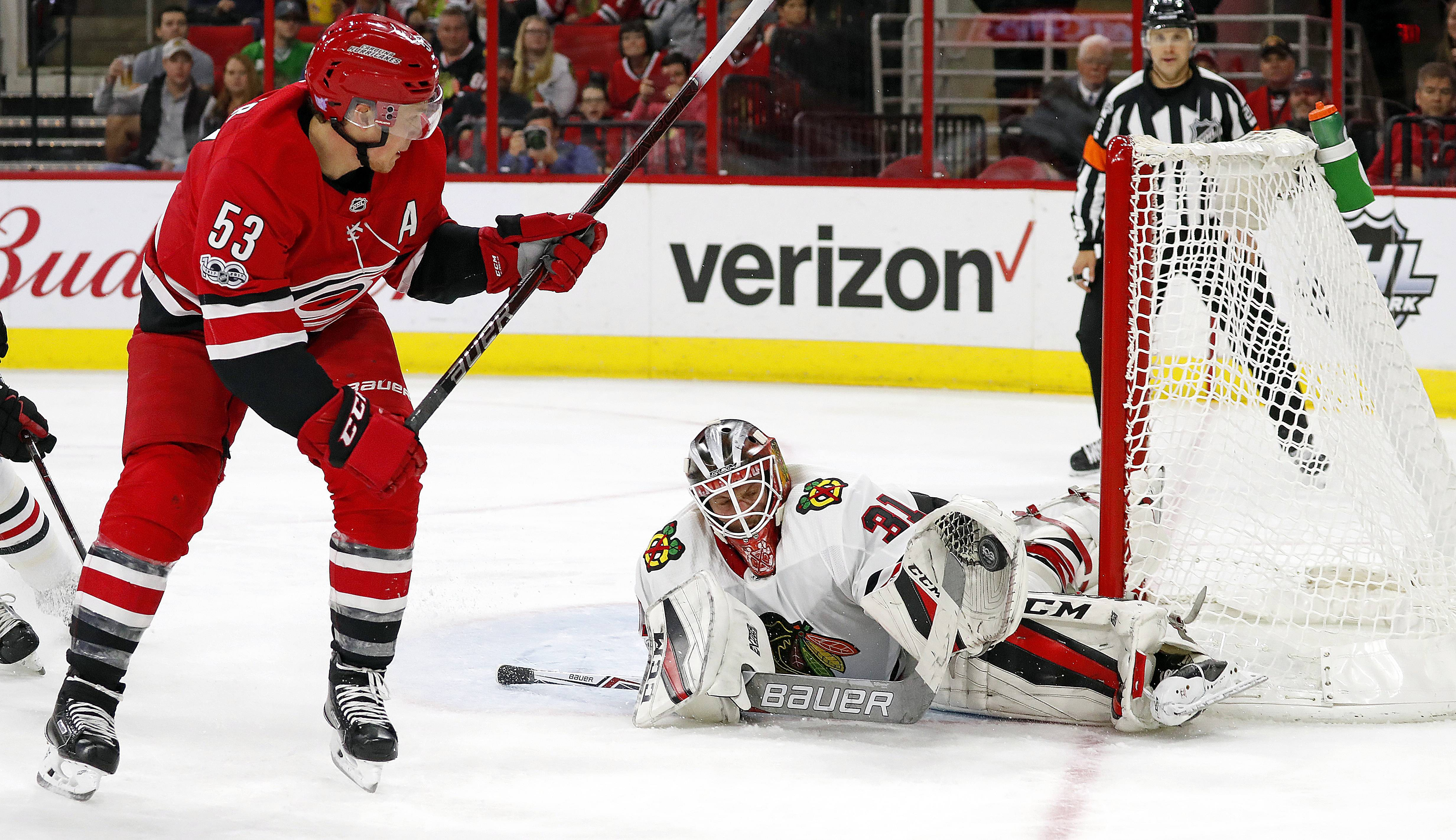 Chicago Blackhawks goalie Anton Forsberg got his first win with the Blackhawks Saturday night in Carolina, something coach Joel Quenneville thinks will help boost his confidence in the future.