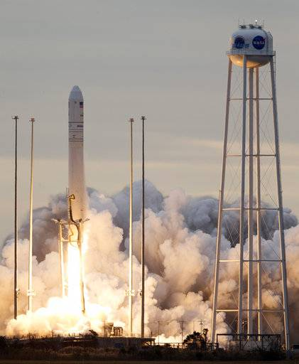 Orbital ATK's Antares rocket lifts off from Wallops Island, Va., Sunday, Nov. 12, 2017. The rocket is carrying cargo to the International Space Station.