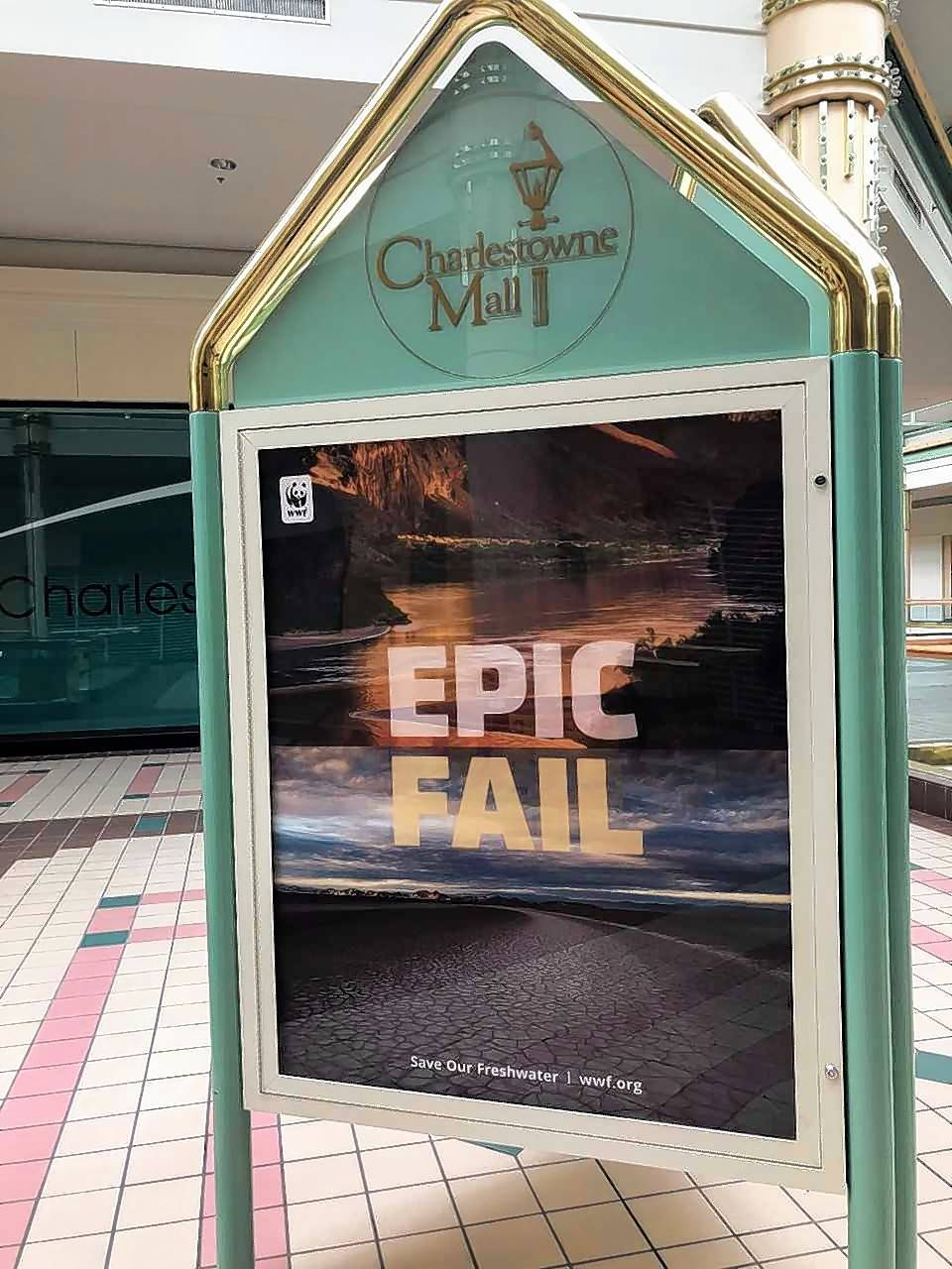 A poster inside St. Charles' Charlestowne Mall tells the full story of the retail history of the building.