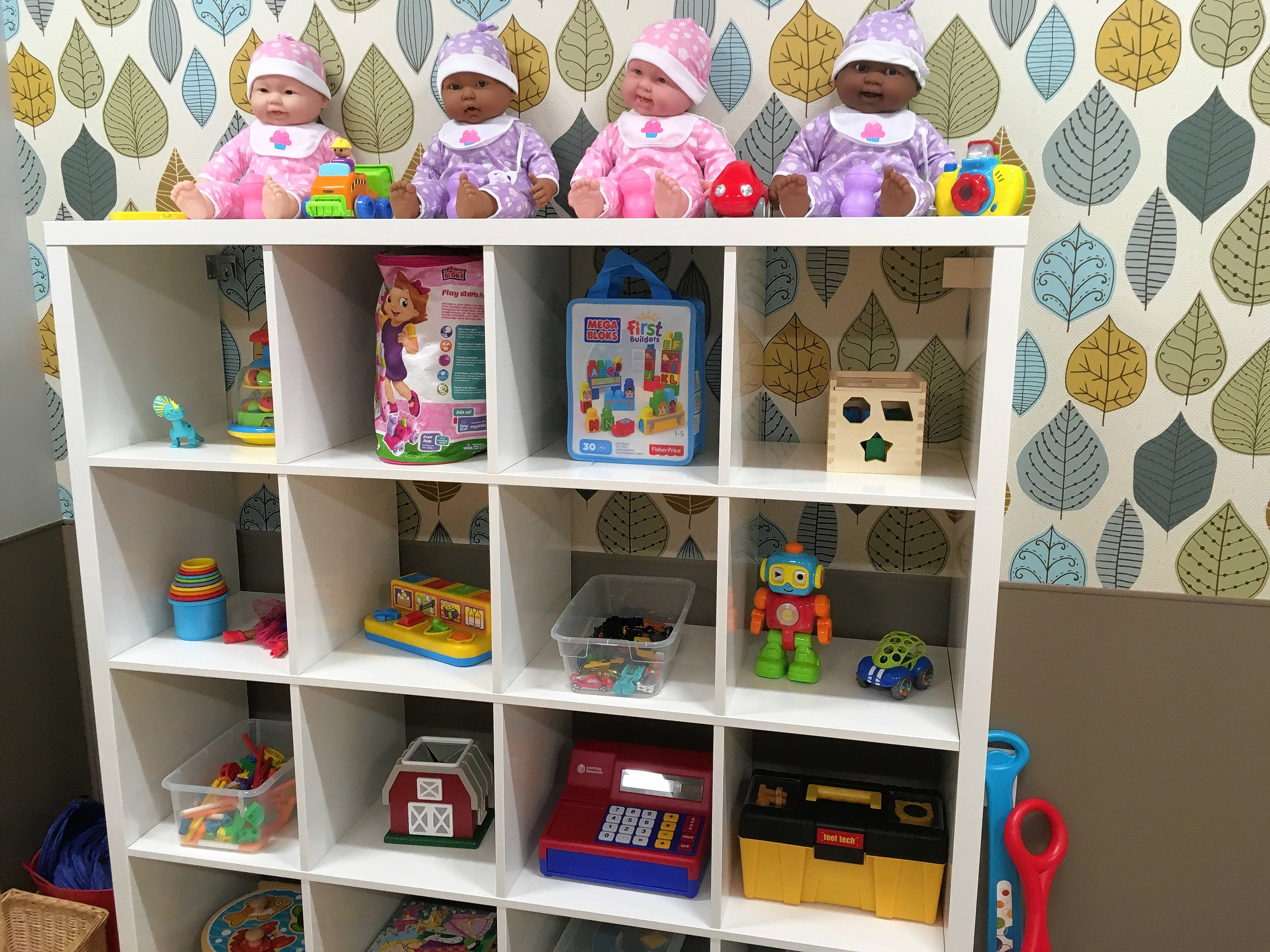Neatly arranged toys await use at The Children's Room, a free day-care center that opens Tuesday for people who have business at the Rolling Meadows courthouse.