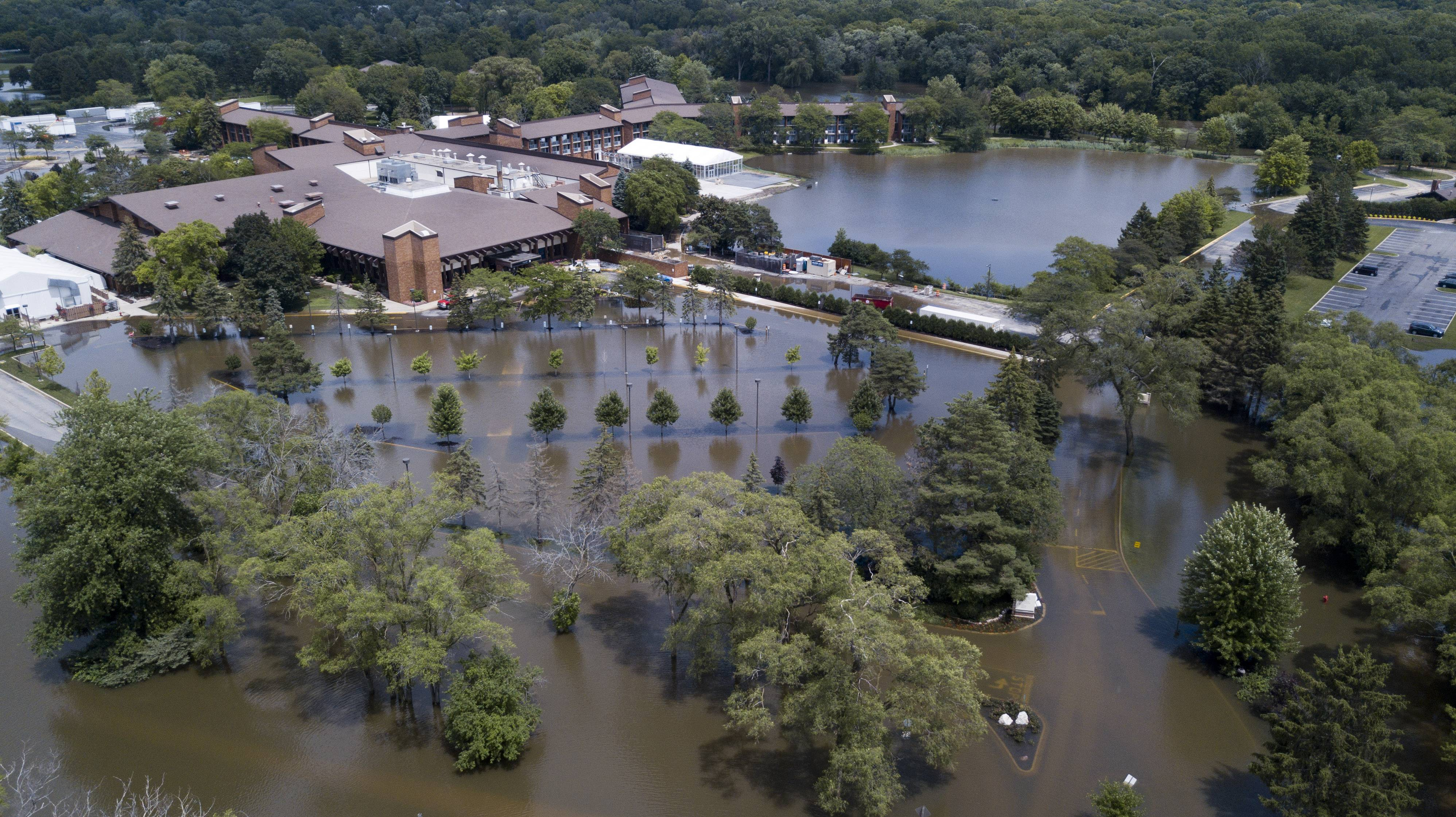 Drone aerial view showing the extent of flooding at the Marriott Lincolnshire. The Federal Emergency Management Agency has decided against helping victims of last summer's record flooding in the Chicago area.
