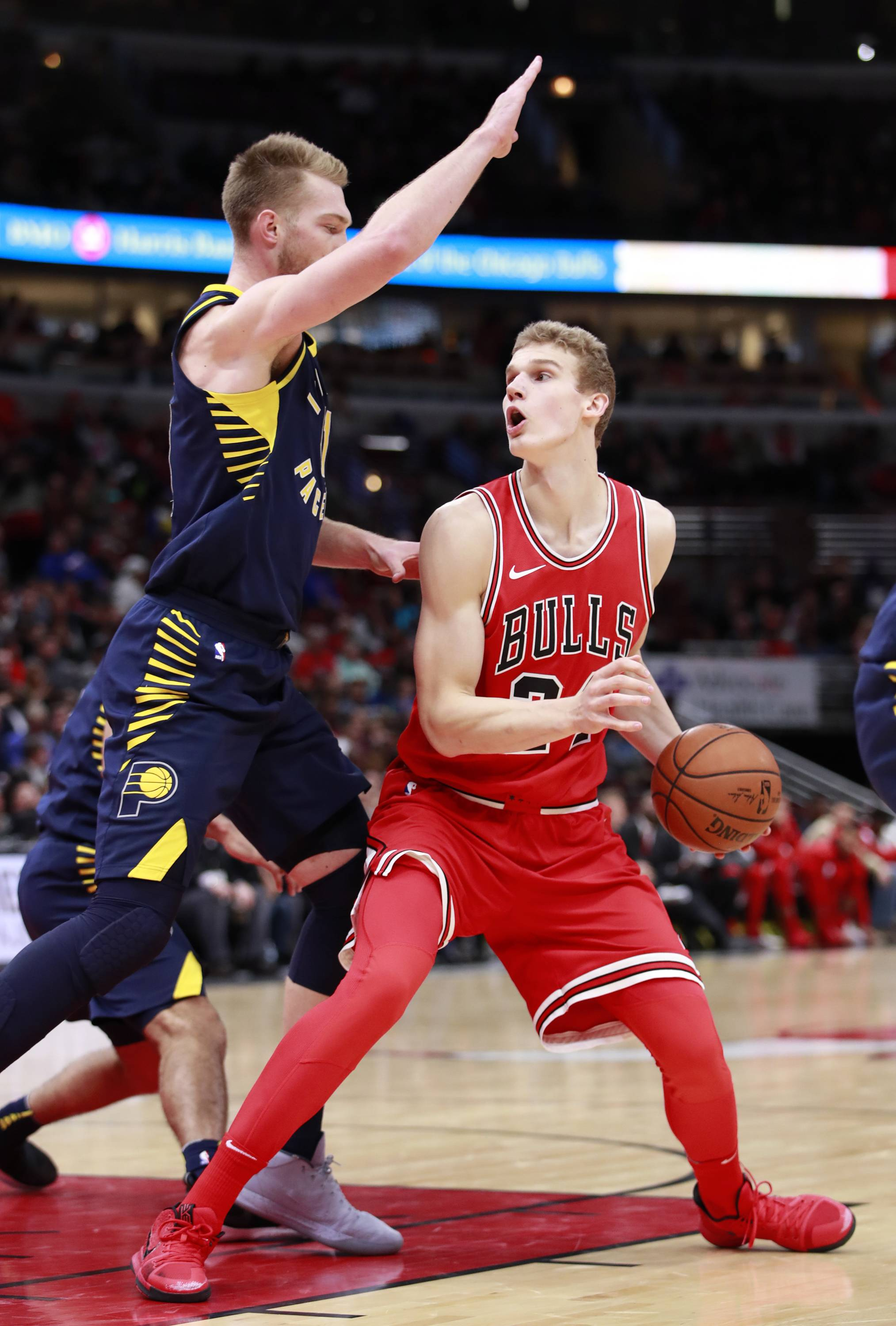 Chicago Bulls forward Lauri Markkanen, right, missed practice Monday due to an ankle injury. He might return to action on Wednesday.
