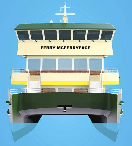 "This undated artist's drawing provided by Transport for NSW shows the design of the last ferry in a new Sydney Harbour fleet which will be christened Ferry McFerryface. ""Given 'Boaty' was already taken by another vessel, we've gone with the next most popular name nominated by Sydneysiders,"" New South Wales state Minister for Transport and Infrastructure Andrew Constance said in a statement Tuesday, Nov. 14, 2017. (Transport for NSW via AP)"