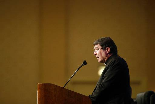 Archbishop Christophe Pierre, Apostolic Nuncio to the United States, delivers remarks at the United States Conference of Catholic Bishops' annual fall meeting in Baltimore, Monday, Nov. 13, 2017.
