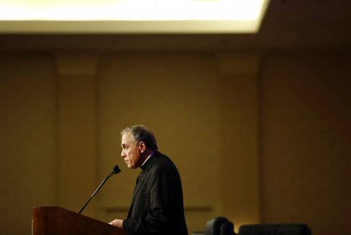 Cardinal Daniel DiNardo of the Archdiocese of Galveston-Houston, president of the United States Conference of Catholic Bishops, delivers remarks at the USCCB's annual fall meeting in Baltimore, Monday, Nov. 13, 2017.