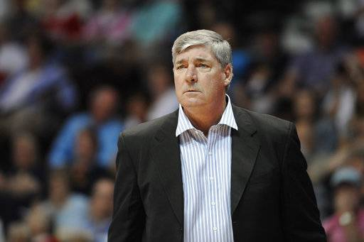 "FILE - In this Aug. 29, 2015, file photo, Bill Laimbeer, then the coach of the New York Liberty, watches the team's WNBA basketball game against the Connecticut Sun in Uncasville, Conn. Laimbeer and the Las Vegas franchise hit the jackpot, winning the WNBA draft lottery on Monday, Nov. 13, 2017. ""Having the first pick will help to grow a fan base and this will go a long way towards that,� Laimbeer, coach and president of the Las Vegas franchise, said in a phone interview. ""I'm excited that we'll add a great piece to the puzzle.� (AP Photo/Jessica Hill, File)"