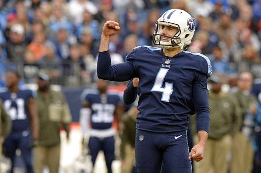 Tennessee Titans kicker Ryan Succop (4) celebrates after kicking a 44-yard field goal against the Cincinnati Bengals in the first half of an NFL football game Sunday, Nov. 12, 2017, in Nashville, Tenn. (AP Photo/Mark Zaleski)