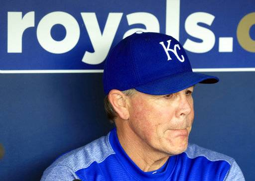 FILE - In this Aug. 29, 2017, file photo, Kansas City Royals manager Ned Yost listens to a reporter's question before a baseball game against the Tampa Bay Rays at Kauffman Stadium in Kansas City, Mo. Yost broke a pelvis and several ribs during a fall on his property in Georgia, Saturday, Nov. 4, when a deer stand he was working on gave way and fell to the ground, Kansas City spokesman Mike Swanson said. (AP Photo/Orlin Wagner, File)