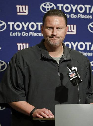 New York Giants head coach Ben McAdoo speaks at a news conference after an NFL football game against the San Francisco 49ers in Santa Clara, Calif., Sunday, Nov. 12, 2017. (AP Photo/Marcio Jose Sanchez)