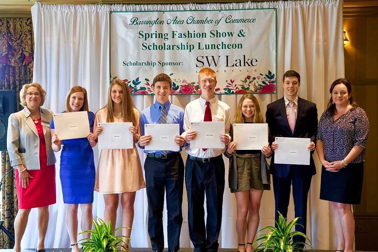 "The Barrington Area Chamber of Commerce awarded $4,000 in scholarships to six local high school students during its 40th annual ""Fashion Show and Scholarship Luncheon."" Pictured, from left, are Suzanne Corr, Barrington Area Chamber of Commerce president/CEO; scholarship winners Rachael Hayden, Haley Luczak, Michael Kinton, Brian O'Hara, Stephanie Pierson and Alec Schimmel; and Liz Luby, Barrington Area Chamber of Commerce chair, @properties l The Luby Group and 365Barrington.com. Applications for the BACC Scholarship can be found at www.BarringtonChamber.com. The chamber's annual dinner supports the Lauren Brown Memorial Scholarship fund."