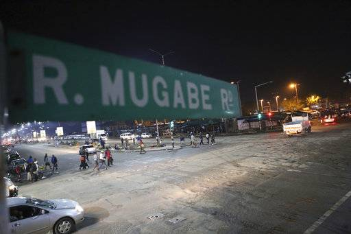 A street scene along Robert Mugabe road in Harare, Tuesday, Nov., 14, 2017.  The Associated Press saw three armored personnel carriers with several soldiers in a convoy on a road heading toward an army barracks just outside the capital, Harare.