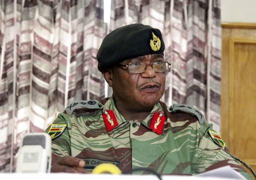 Zimbabwe's Army Commander, Constantino Chiwenga addresses a press conference in Harare, Monday, Nov. 13, 2017. The army commander Monday criticized the instability in the country's ruling party caused by President Robert Mugabe who last week fired a vice president.