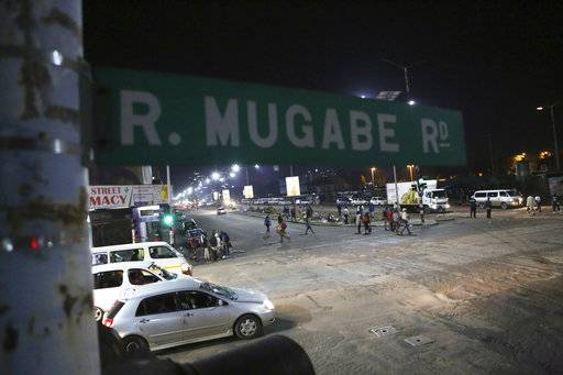 A street scene along Robert Mugabe road in Harare, Tuesday, Nov. 14, 2017.  The Associated Press saw three armored personnel carriers with several soldiers in a convoy on a road heading toward an army barracks just outside the capital, Harare.